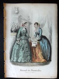 Journal des Demoiselles C1850 Antique Hand Col Fashion Print 86